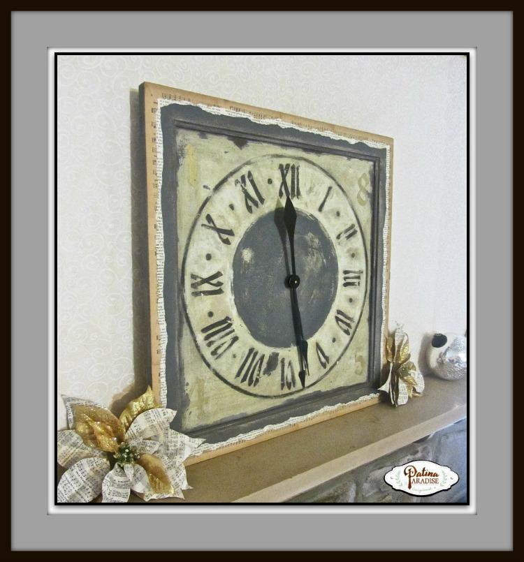 Cupboard Door Turned Clock with Patina