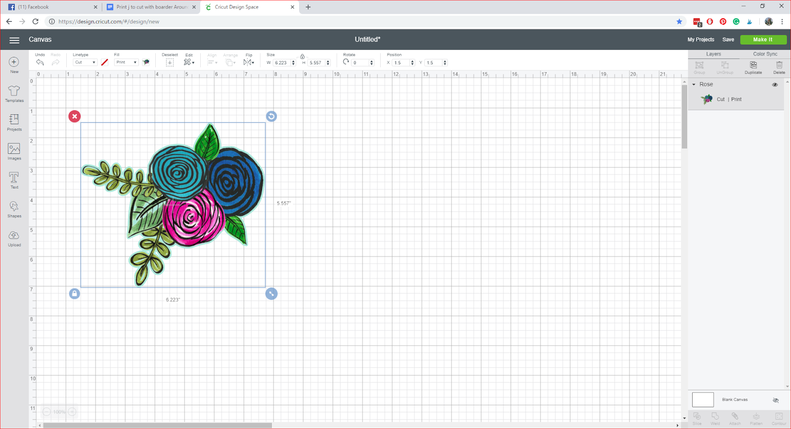 A screenshot of flower in Cricut Design Studio.