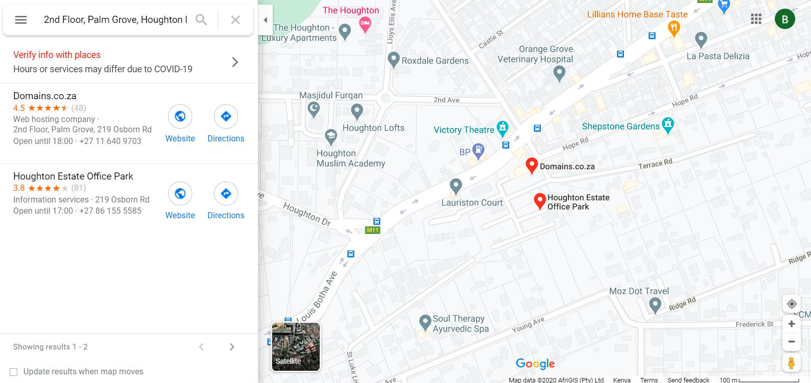 domains sa location
