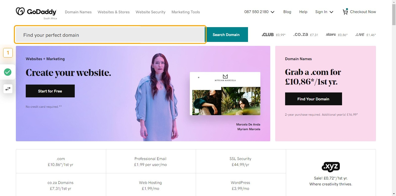 Go to Domain Names, Websites, Hosting & Online Marketing Tools - GoDaddy ZA