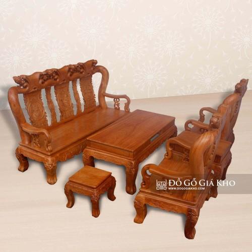 Salon gỗ Gõ Đỏ chạm Đào