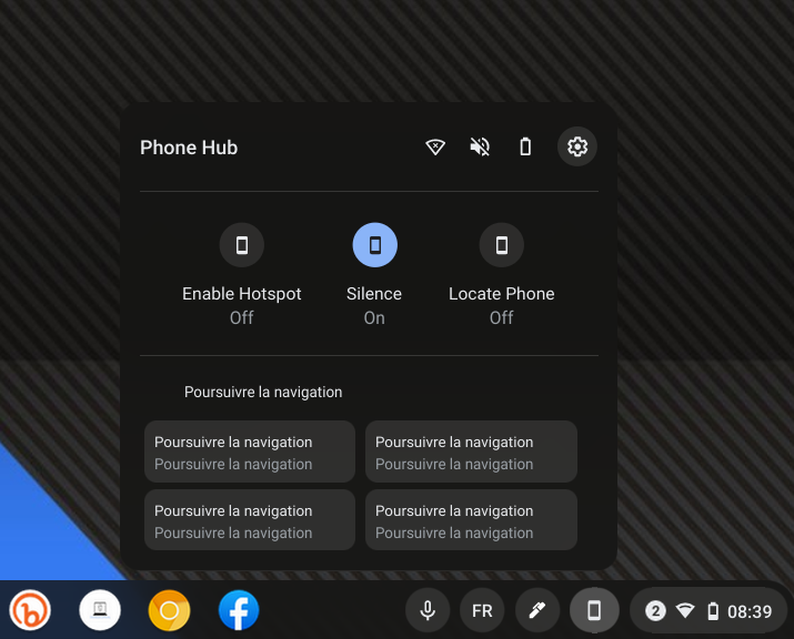 Phone HUB Android dans ChromeOS