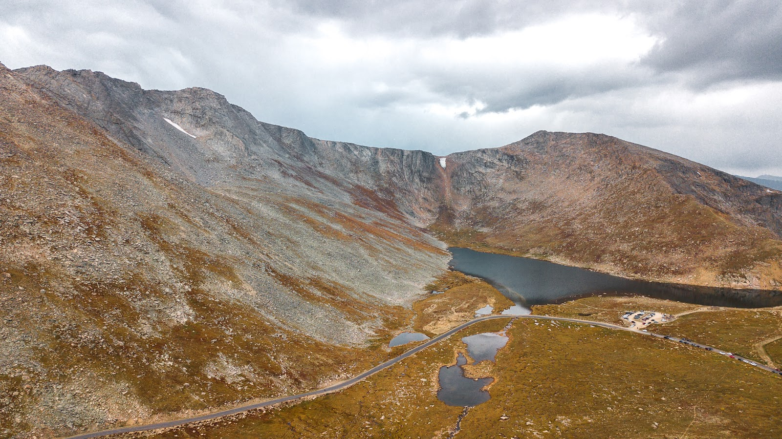 Cycling Mt. Evans - aerial drone photo of Summit Lake