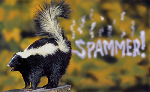 skunk spraying the words spammer