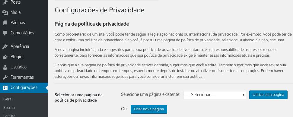 configurações de privacidade no wordpress