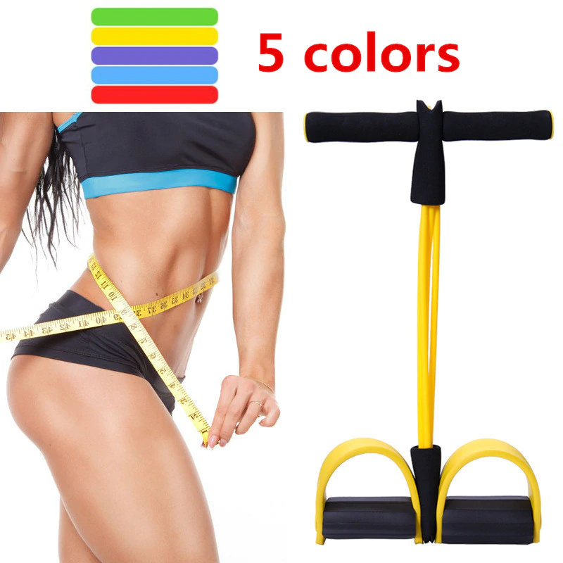 4 Tube Strong Fitness Resistance Bands Latex Pedal Exerciser
