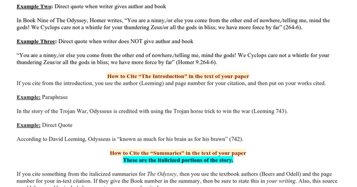 Direct Quote Fascinating How To Cite The Odyssey  Google Docs