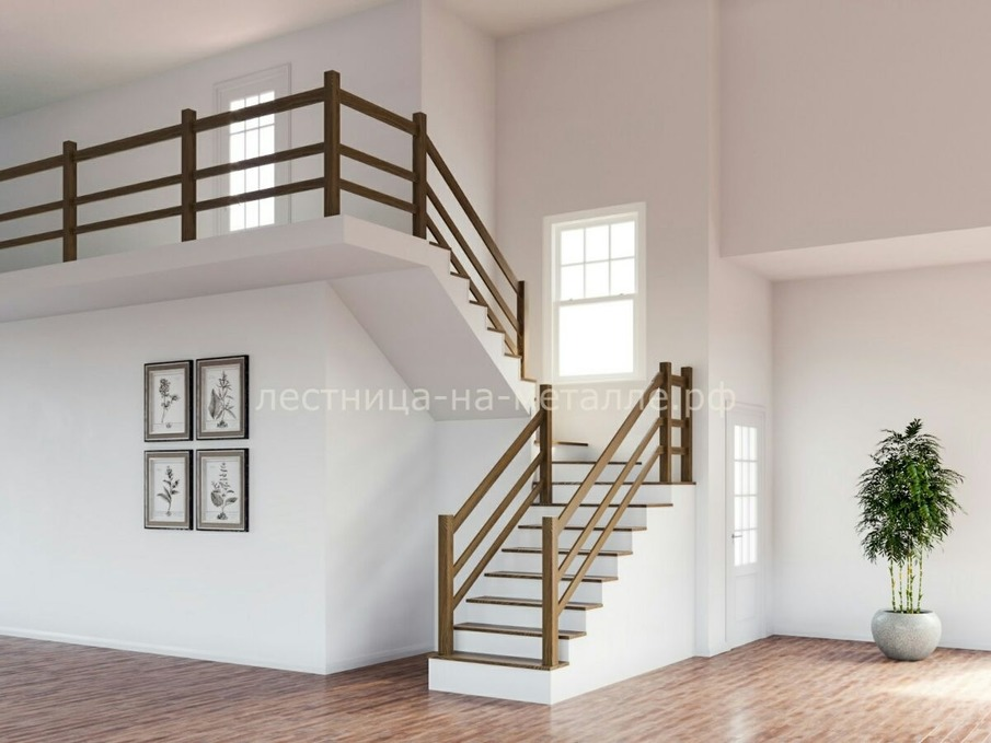 лестница на двух косоурах закрытого типа