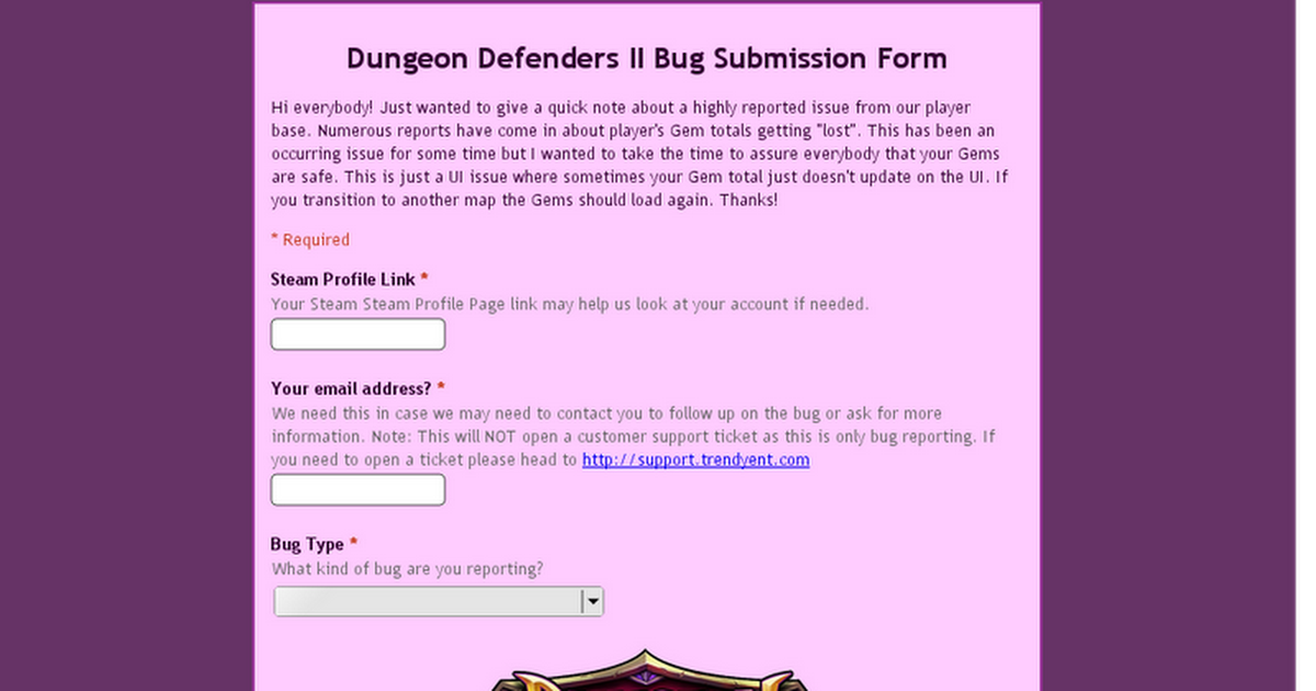 Dungeon Defenders II Bug Submission Form