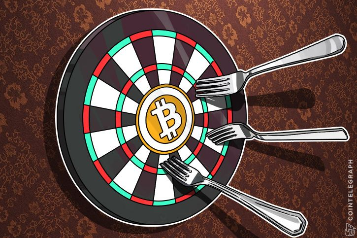 Dartboard with Bitcoin logo and forks