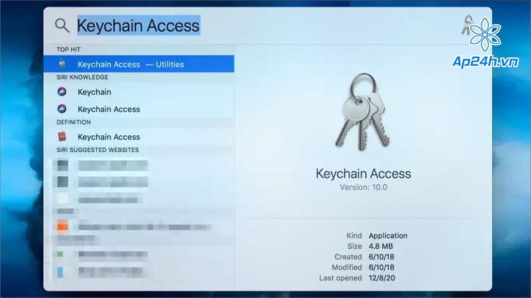 Truy cập Keychain Access quản lý mật khẩu