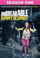 Cover of the show's first season on DVD, showing Kimmy jumping in a puddle.