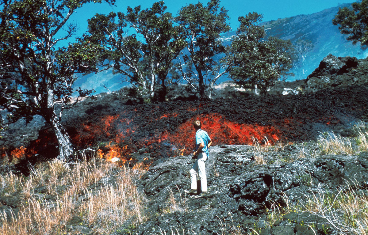 Man watches as Lava flows