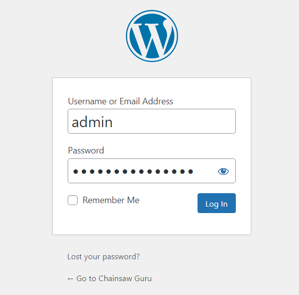 Blogging Guide: WordPress login