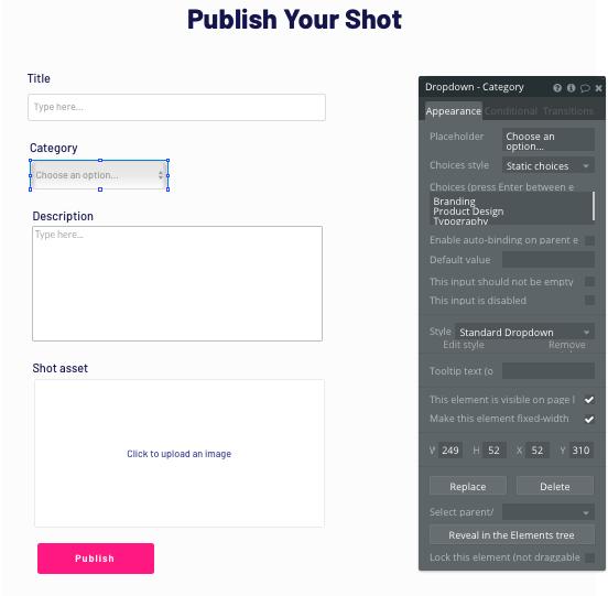Configuring dynamic shot inputs in Bubble's no-code platform