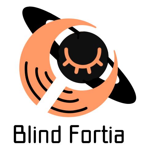 世界や多様性を包み込むイメージのオレンジの三日月と、スティグマや偏見を打ち破る力のイメージと盲目を象徴する瞑った目を描かれた黒の土星が重なり合うモチーフの下に、Blind Fortiaの文字
