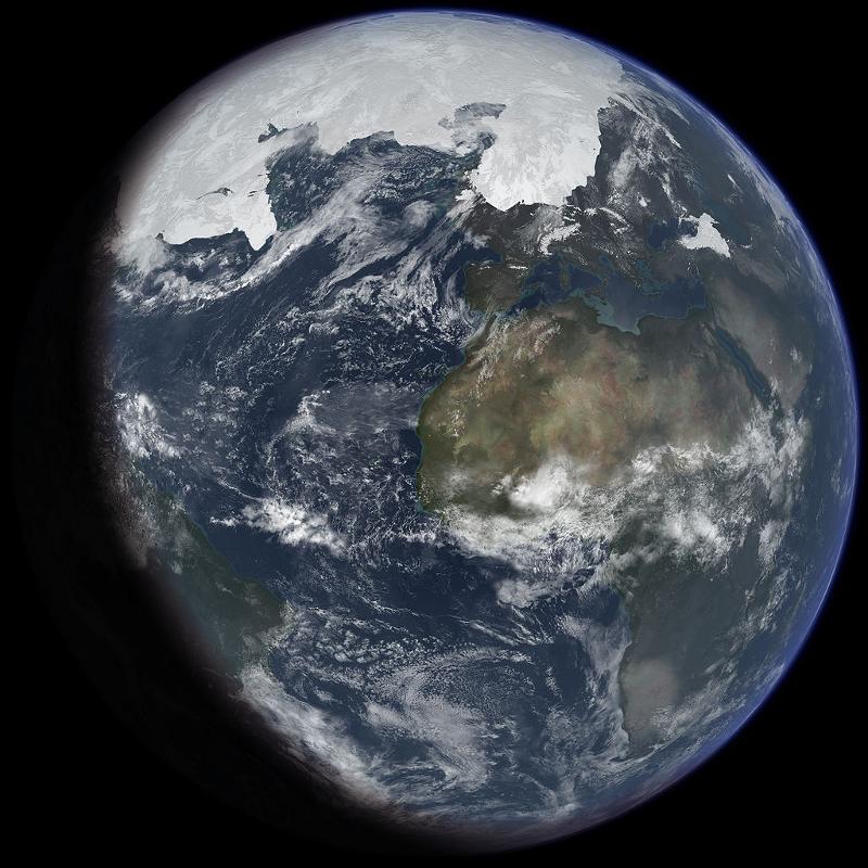 Фигурата показва земното кълбо с голяма ледена шапка, видима на север.