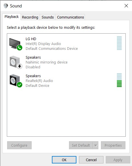 The Playback option in the Sound properties tab