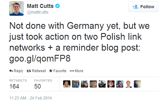 Matt Cutts' tweet about Polish link networks