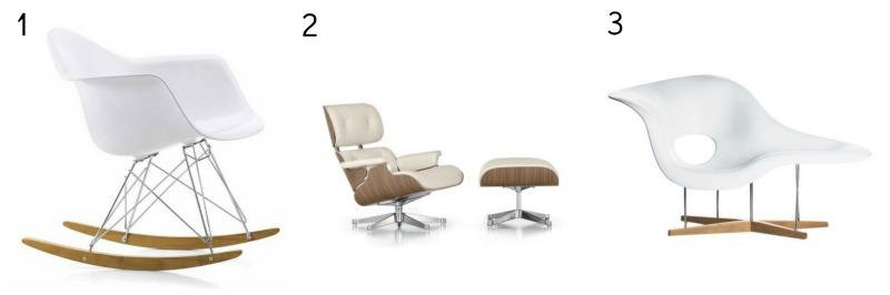 Vitra Eames RAR Rocking Chair, Eames Lounge Chair & Ottoman, Vitra Eames La Chaise