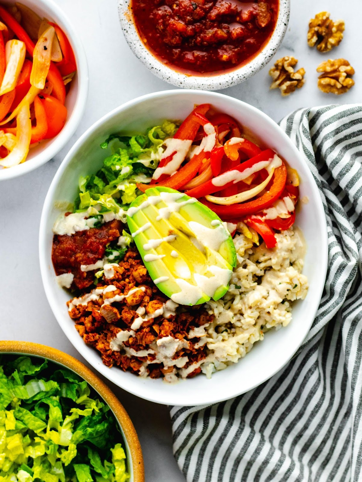 Vegan Burrito Bowls with Chickpea Walnut Taco Meat | Daisybeet, MS, RD