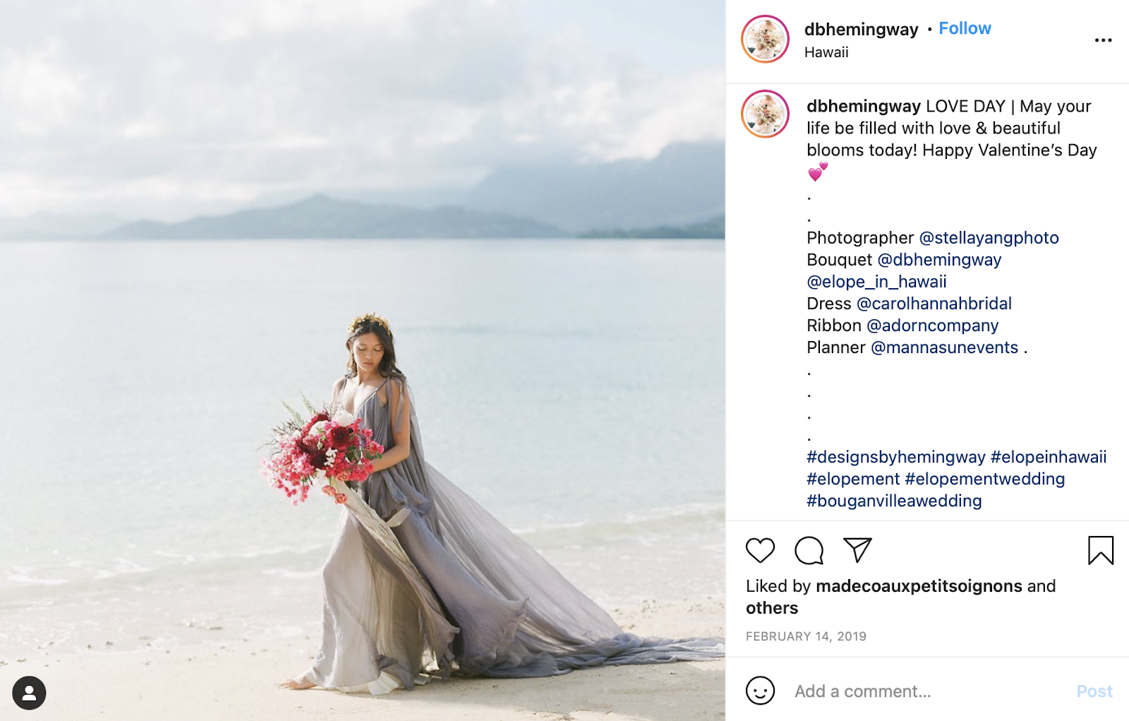bridesmaid on beach with gray dress and raspberry flowers