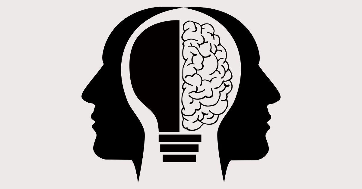 Half a brain and half a bulb inside a human head silhouette.