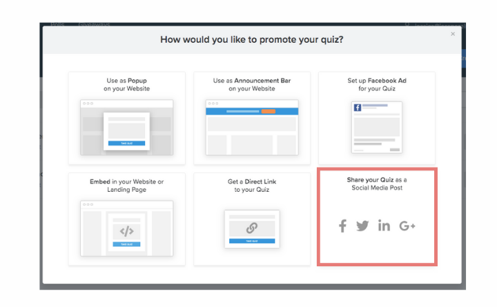 options to promote quiz including popup, announcement bar, Facebook ad, embed, direct link, and social media share
