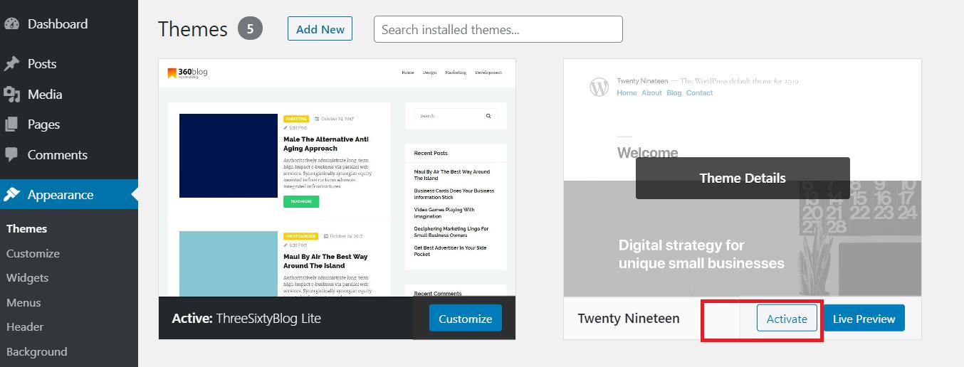 how to change WordPress theme on live site