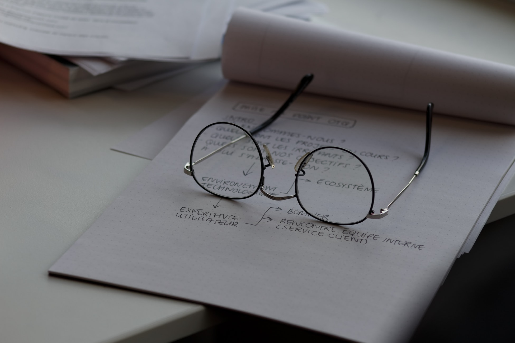 notepad on desk with glasses on top