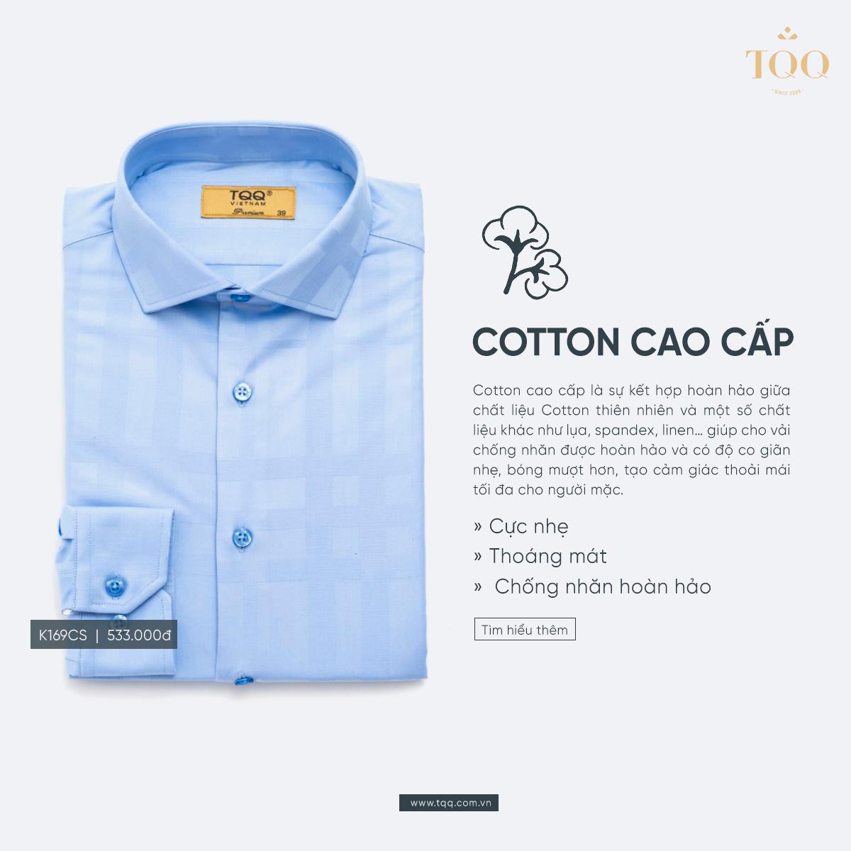 áo sơ mi nam không nhăn chất liệu cotton