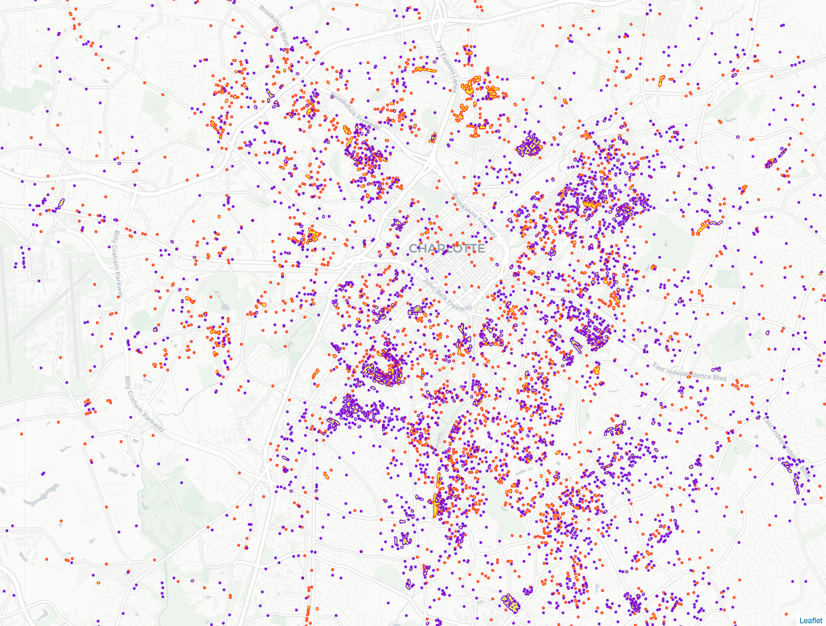 A map of recorded demolition permits issued in Mecklenburg County from 1999 to 2020.