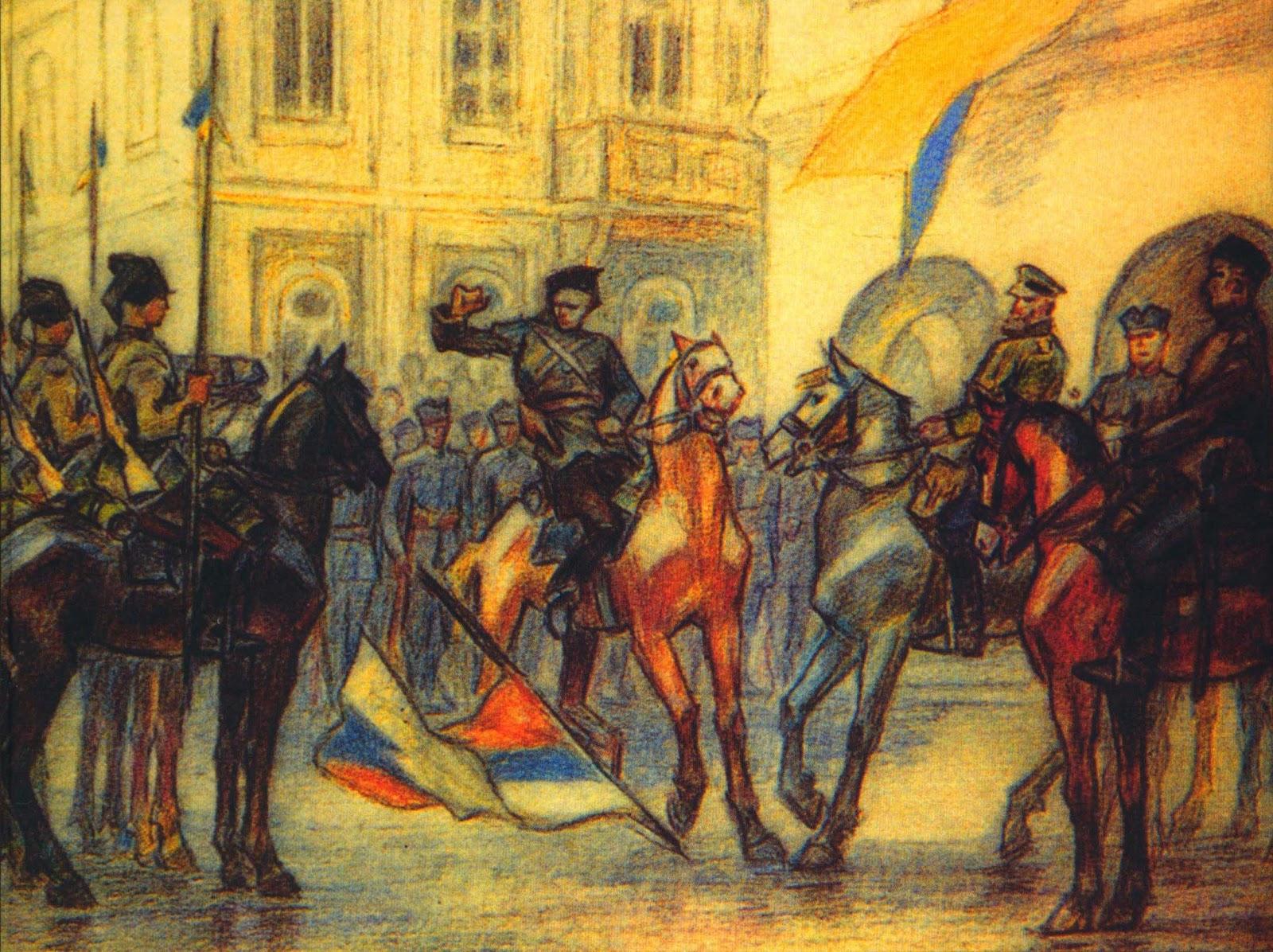 Події 31 серпня на Думській площі. Малюнок Леоніда Перфецького