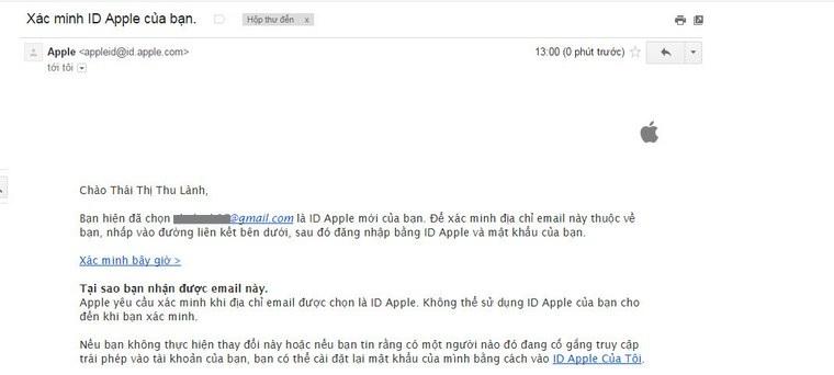 Trong email sẽ có 1 thư được gửi đến từ Apple và bạn chọn vào Xác minh bây giờ để xác mình Apple ID của mình.