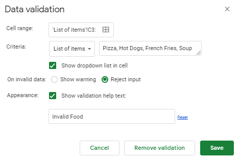 Shows the data validation box with a list of items