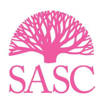 """[img description: SASC logo, a pink tree with many branches, placed on top of the word """"SASC"""" in a serif font.]"""
