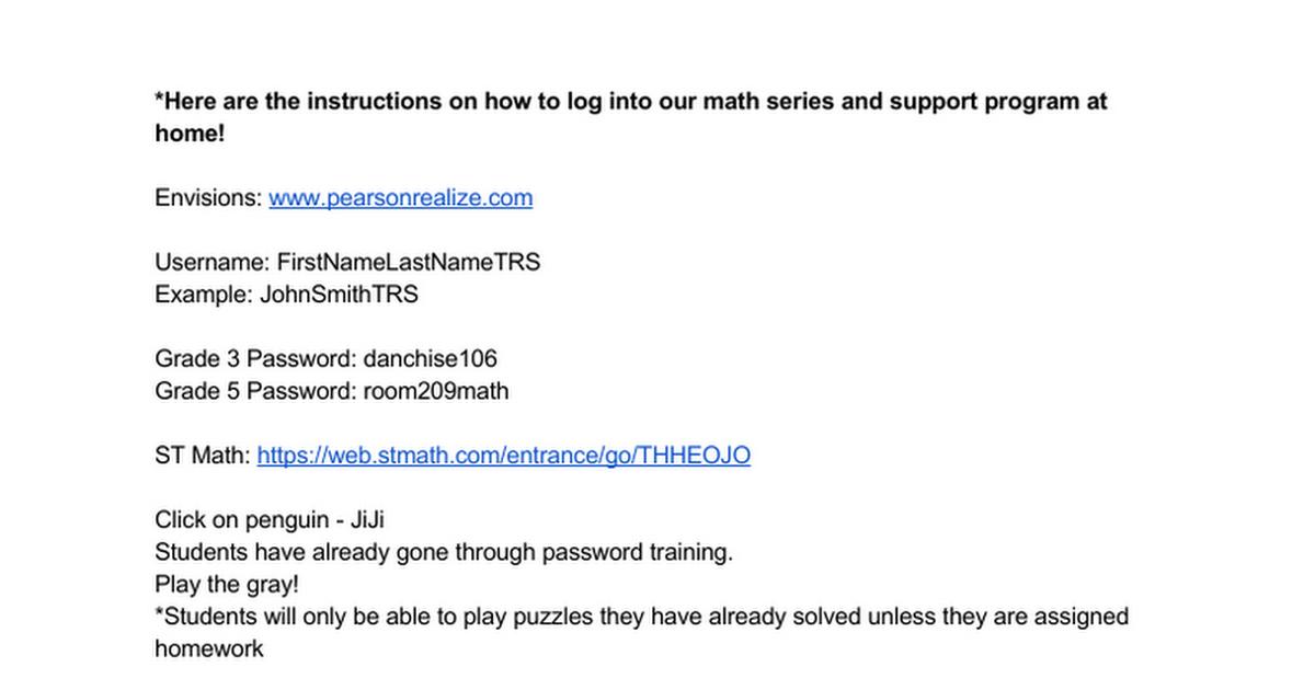 Math Instructionssuggested Homework Activities Google Docs