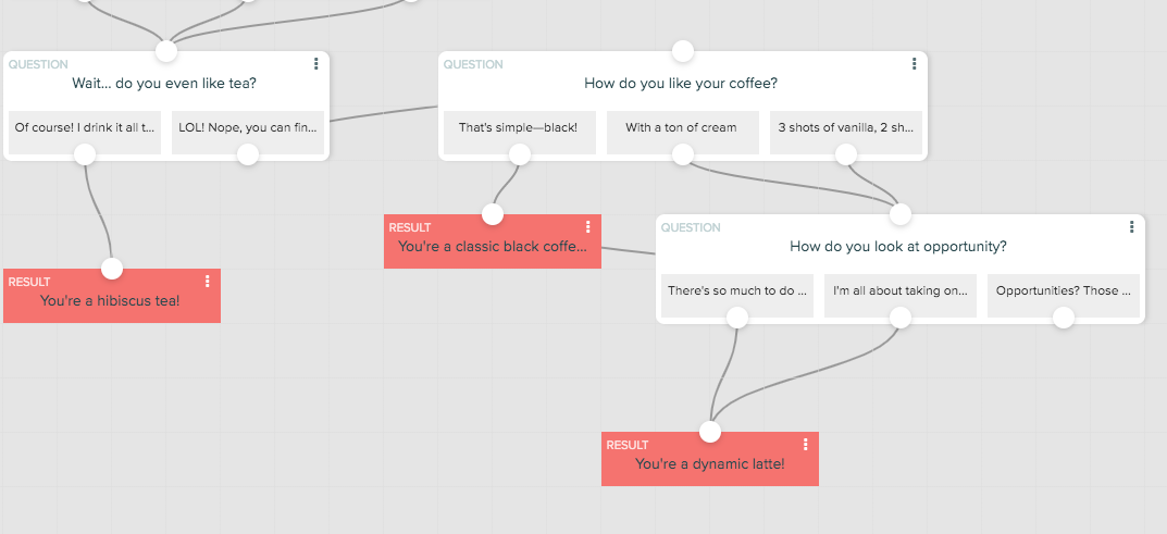 adding coffee question with branching logic to the end of the conditional logic quiz