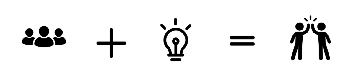 icons-group-plus-sign-lightbulb-equals-sign-high-five