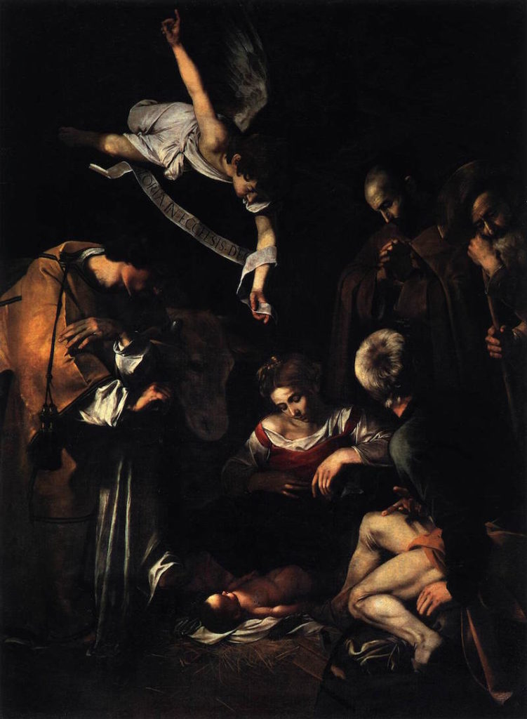 Caravaggio Nativity with St Francis and St Lawrence (1609).jpg