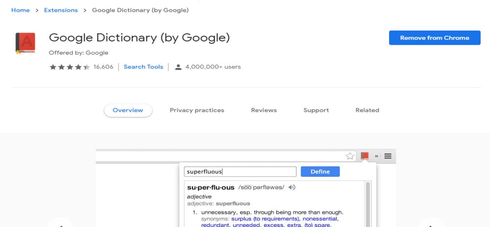 google dictionary chrome extension