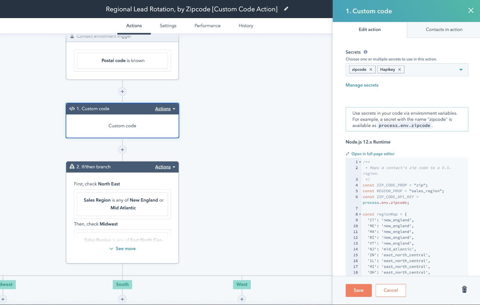 Custom code in HubSpot Workflows