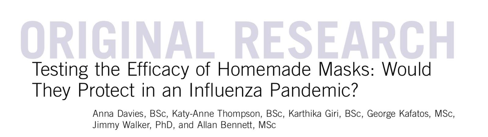 Efficacy of Homemade Masks Viruses Pandemic