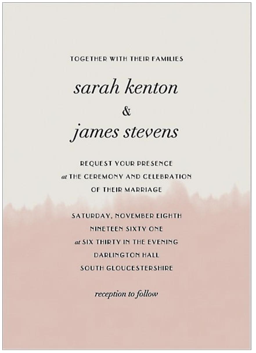 dip dye modern wedding invitation