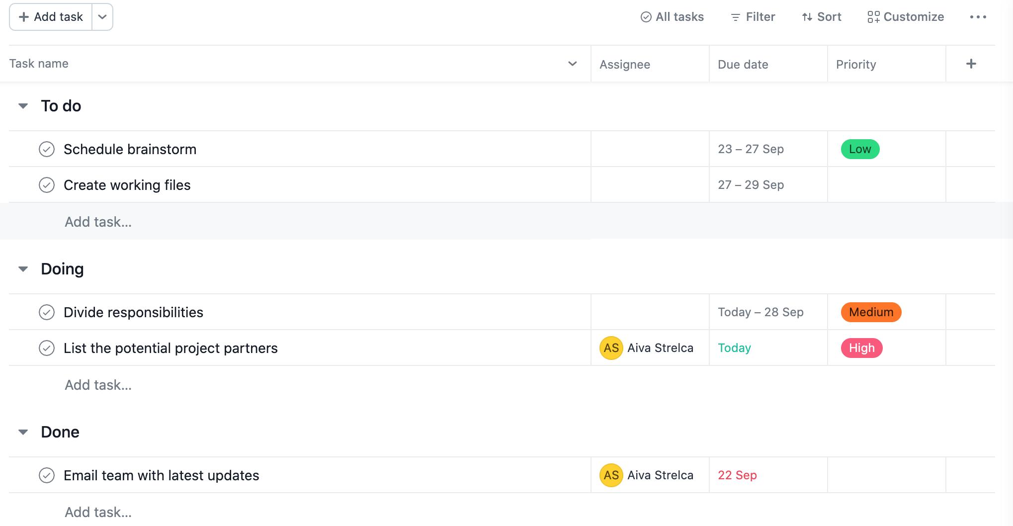 Asana tool screenshot