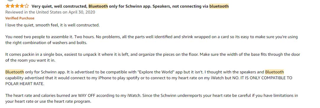 Customer feedback on bluetooth compatibility of Schwinn 470 elliptical