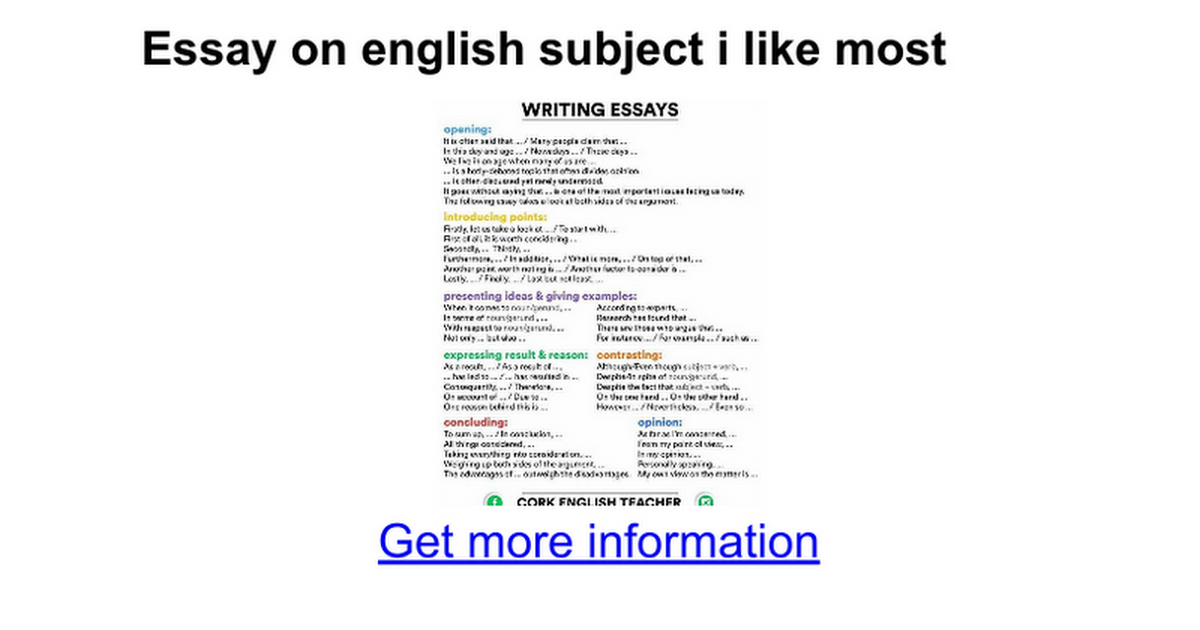 Essay On English Subject I Like Most  Google Docs