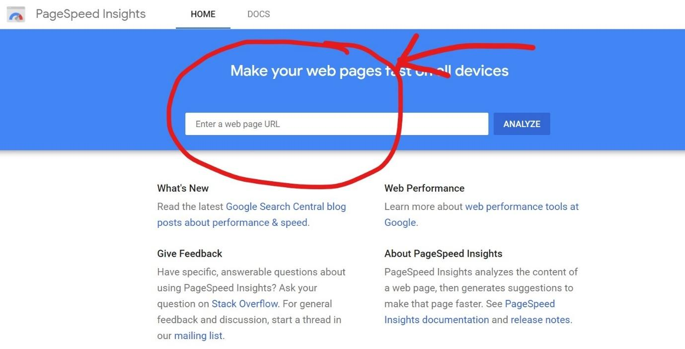 Website speed check by page speed insight