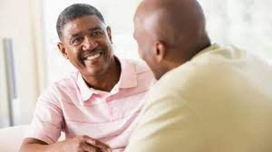 Young man received advice from older man