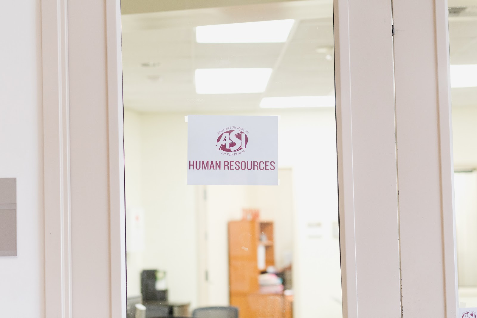 Human resources sign on door